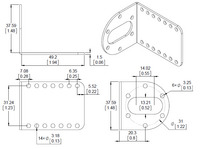 Mechanical drawing for the Pololu stamped aluminum L-bracket for 37D mm metal gearmotors.