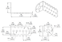 Mechanical drawing for the Pololu 20D mm metal gearmotor bracket.  Units are mm over [inches].