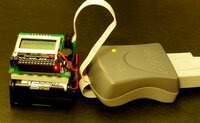 Pololu Orangutan Robot Controller connected to an AVR ISP (serial version).