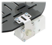 Plastic gearmotor with offset output (item #1118 or #1119) mounted with Pololu extended stamped aluminum L-bracket.