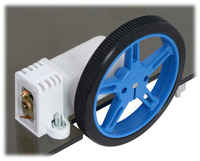 60×8mm Pololu wheel and 90° mini plastic gearmotor mounted with tall mini plastic gearmotor bracket (with spacer).