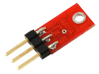 An example of soldering header pins parallel to QTR-1A PCB for compact installation.