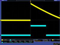 "QTR-1RC output (yellow) when 1/8"" above a black line and microcontroller timing of that output (blue)."