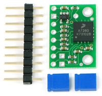 "MMA7260QT 3-axis accelerometer with included 0.1"" header strip and shorting blocks."