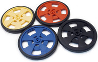 Solarbotics GMPW plastic wheels with molded silicone tires and encoder stripes; all color options shown.
