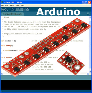Arduino IDE with Pololu QTR sensors superimposed over it.