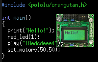 A simple program written with the Pololu AVR Library.