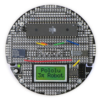 3pi expansion kit (with cutouts) PCB populated with various components (black solder mask version).